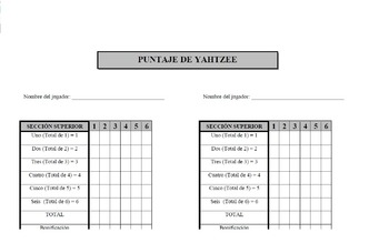 Yahtzee score sheet (Spanish)
