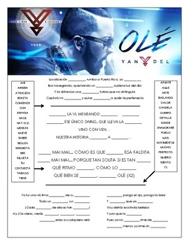 Yandel - 'Olé' Cloze Song Sheet in Spanish