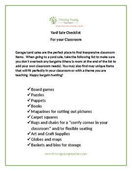 Yard Sale Checklist- Essential Items to buy for your Classroom
