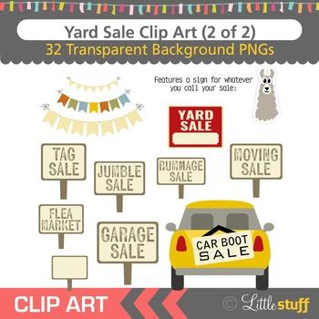 Yard Sale Clipart, Garage Sale Clip Art Set