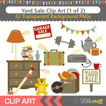 Yard Sale Clipart, Garage Sale Clip Art Set