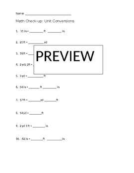 Yards, Feet, Inches Conversions Chart & Worksheet