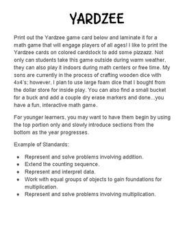 Yardzee Scoring Sheet - Giant Yahtzee Math Game