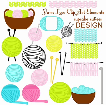 Yarn Love Knitting and Crochet Craft Digital Clip Art Elements