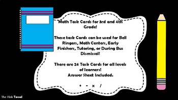 Yay!! Math Task Cards for 3rd and 4th Graders