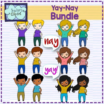 Yay! or Nay Multicultural Kids Clipart BUNDLE