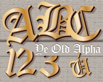 "Ye Olde Alphabet Black Letter Clip Art  /  97 pcs - 4"" High, Vector PDF and PNGs"