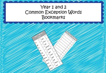 Year 1 &2 Common Exception Words - Spelling Bookmark