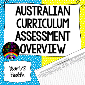 Year 1/2 Health Australian Curriculum Assessment Overview
