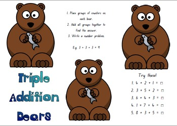Math Center Game - Grade 1 or 2 Triple Addition Bears