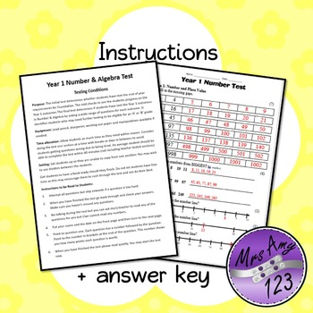 Year 1 ACARA Number Maths Test
