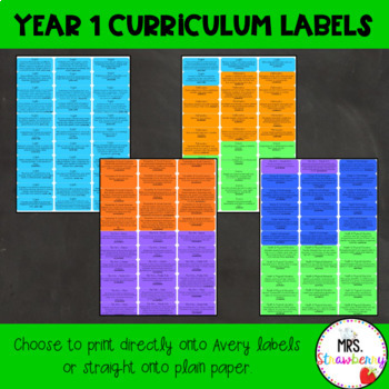 Year 1 Australian Curriculum Learning Outcome Labels/ Tags