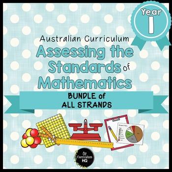 Year 1 Australian Curriculum Maths Assessment BUNDLE OF ALL STRANDS
