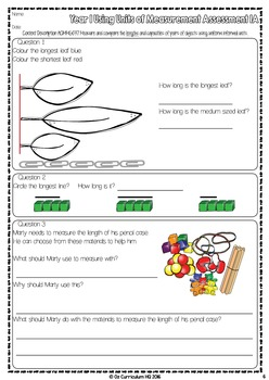 Year 1 Australian Curriculum Maths Assessment Measurement and Geometry