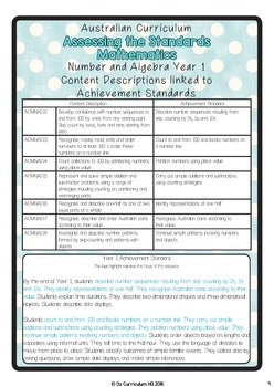 Year 1 Australian Curriculum Maths Assessment Number and Algebra Bundle