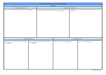 Year 1 Australian Curriculum Planning Templates - English
