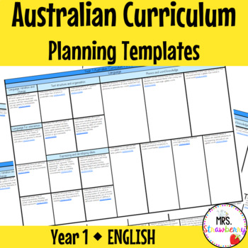 Year 1 Australian Curriculum Planning Templates - English