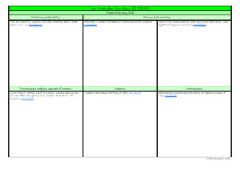 Year 1 Australian Curriculum Planning Templates - Science