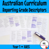 Year 1 Australian Curriculum Reporting Grade Descriptors - HASS