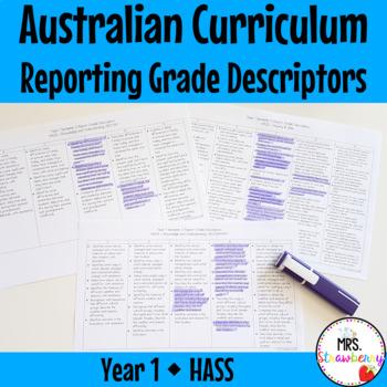 Year 1 Australian Curriculum Reporting Grade Descriptors - HASS