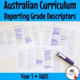 Year 1 HASS Australian Curriculum Reporting Grade Descriptors