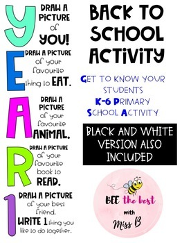 Year 1 Back to School Activity