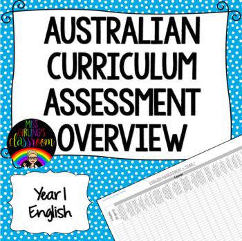 Year 1 English Australian Curriculum Assessment Overview