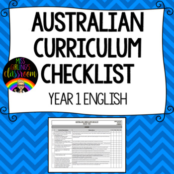 Year 1 English - Australian Curriculum Checklist