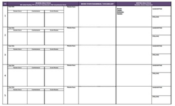 Year 1 English Australian Curriculum Planning Template (A3 Size)