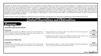 Year 1 English (Black & White) | Australian Curriculum Checklist