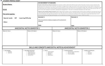 Year 1 English Checklist & Student Profile Sheet AUSTRALIAN CURRICULUM A3