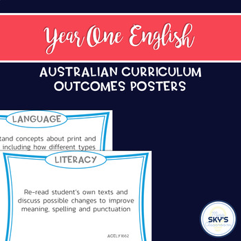 Year 1 English Outcomes Posters - AUSTRALIAN CURRICULUM