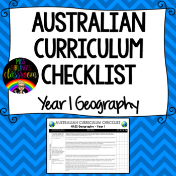 Year 1 Geography - Australian Curriculum Checklist