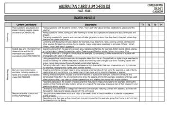 Year 1 HASS - Australian Curriculum Checklist