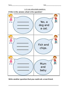 Year 1 Literacy writing questions