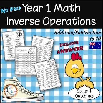 Year 1 Math - Inverse Operations - Add/Subtract to 10 - No Prep Worksheets