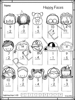 Year 1 Math - Subtraction 1-10 - No Prep Worksheets