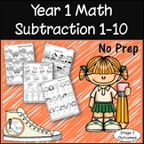 Year 1 Math - Subtraction 1-10 - No Prep Worksheets