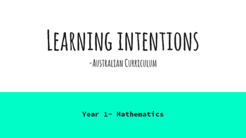 Year 1 Mathematics Learning Intentions