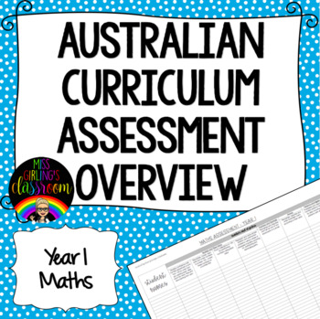 Year 1 Maths Australian Curriculum Assessment Overview