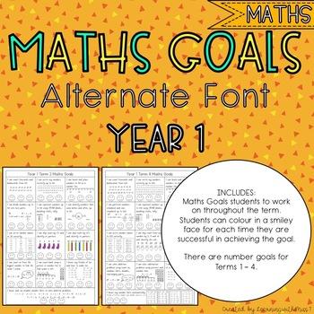 Year 1 Maths Goals - Alternate Font
