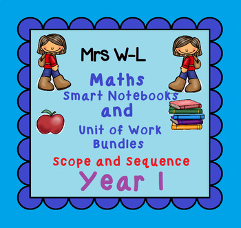 Year 1 Maths SCOPE AND SEQUENCE for Smart Notebook & Unit of Work Bundles