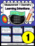 Year 1 – Measurement & Geometry Learning INTENTIONS & Success Criteria Posters