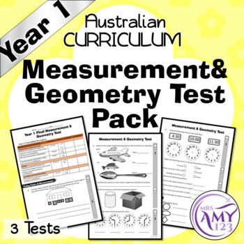Year 1 Measurement & Geometry Maths Test Pack- Australian Curriculum