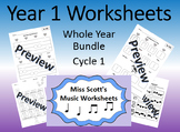 Year 1 Music Worksheets Whole Year Bundle Cycle 1