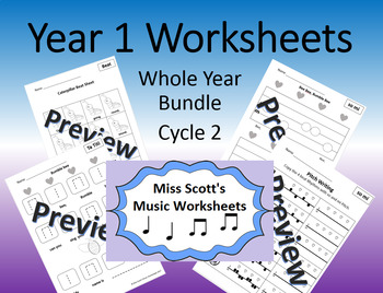 Year 1 Music Worksheets Whole Year Bundle Cycle 2