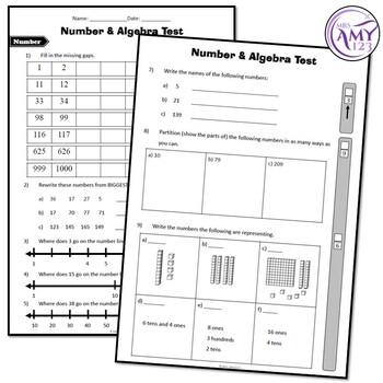 Year 1 Number & Algebra Maths Test Pack- Australian Curriculum