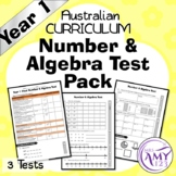 Year 1 Number & Algebra Maths Test Pack- Australian Curriculum
