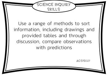 Year 1 Science Outcomes Posters - AUSTRALIAN CURRICULUM