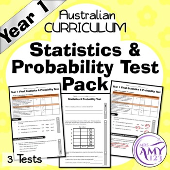 Year 1 Statistics & Probability Maths Test Pack- Australian Curriculum
